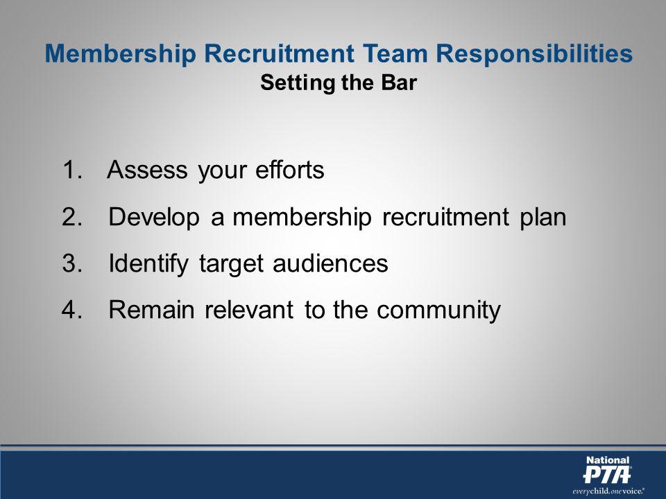 Membership Recruitment Team Responsibilities Setting the Bar 1. Assess your efforts 2. Develop a membership recruitment plan 3. Identify target audien