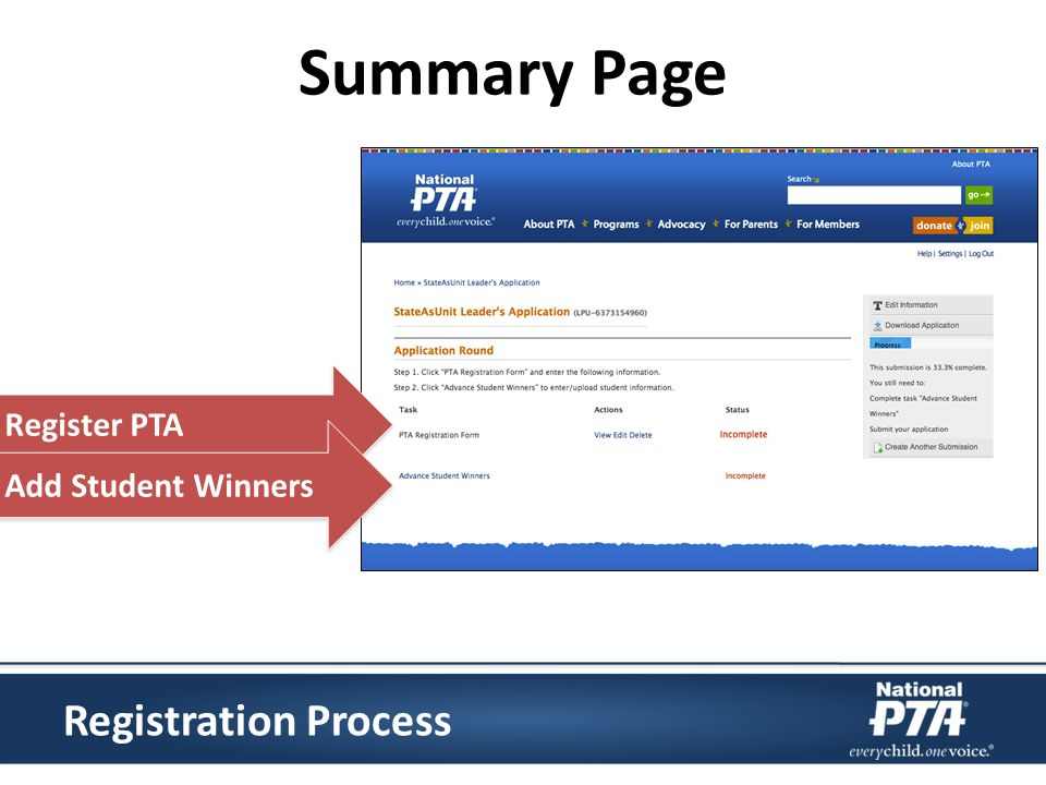 Registration Process Summary Page Register PTA Add Student Winners