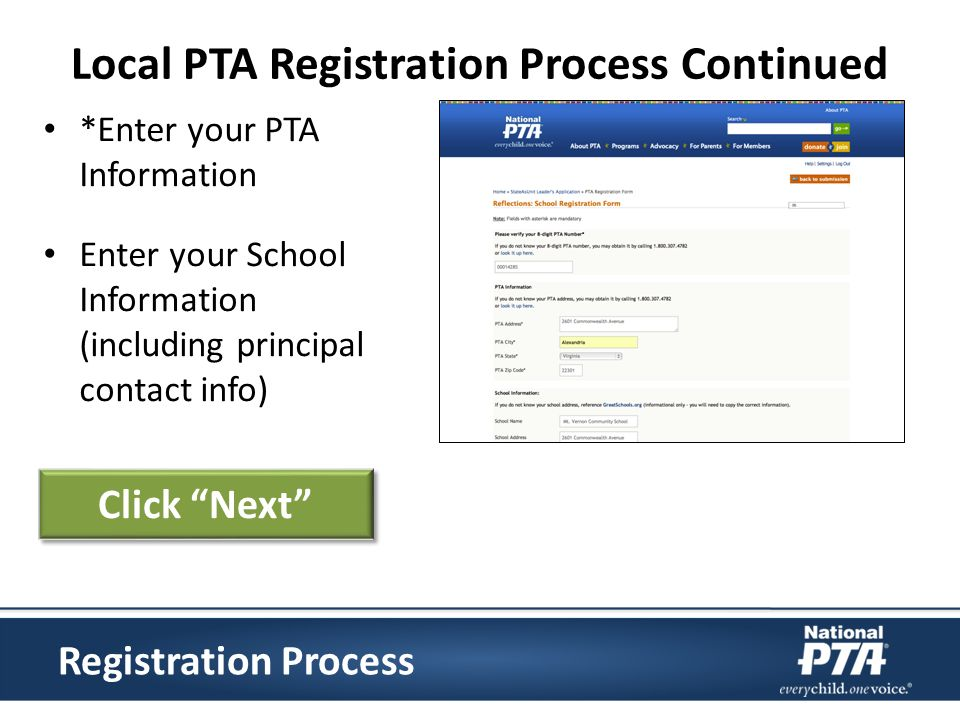 *Enter your PTA Information Enter your School Information (including principal contact info) Registration Process Click Next Local PTA Registration Pr