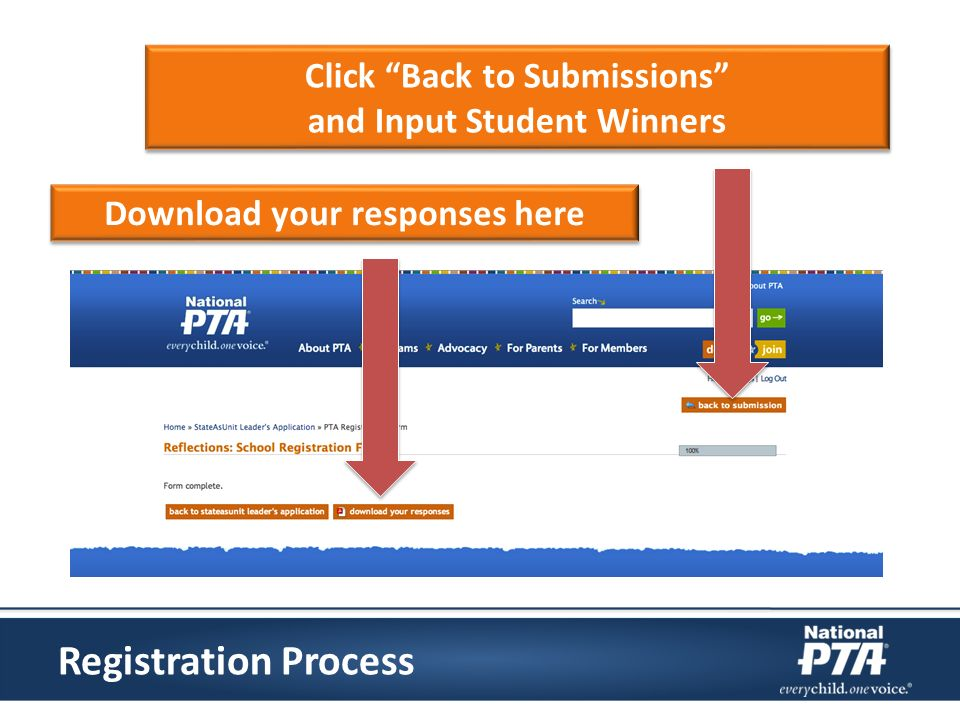 Click Back to Submissions and Input Student Winners Click Back to Submissions and Input Student Winners Download your responses here Registration Proc