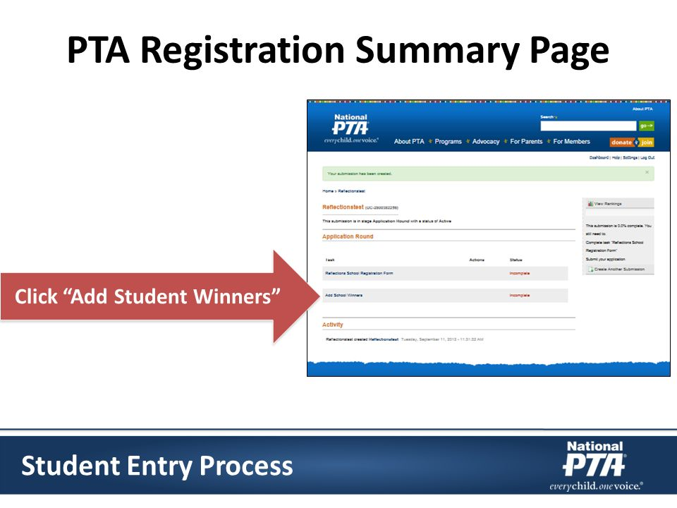 PTA Registration Summary Page Click Add Student Winners Student Entry Process