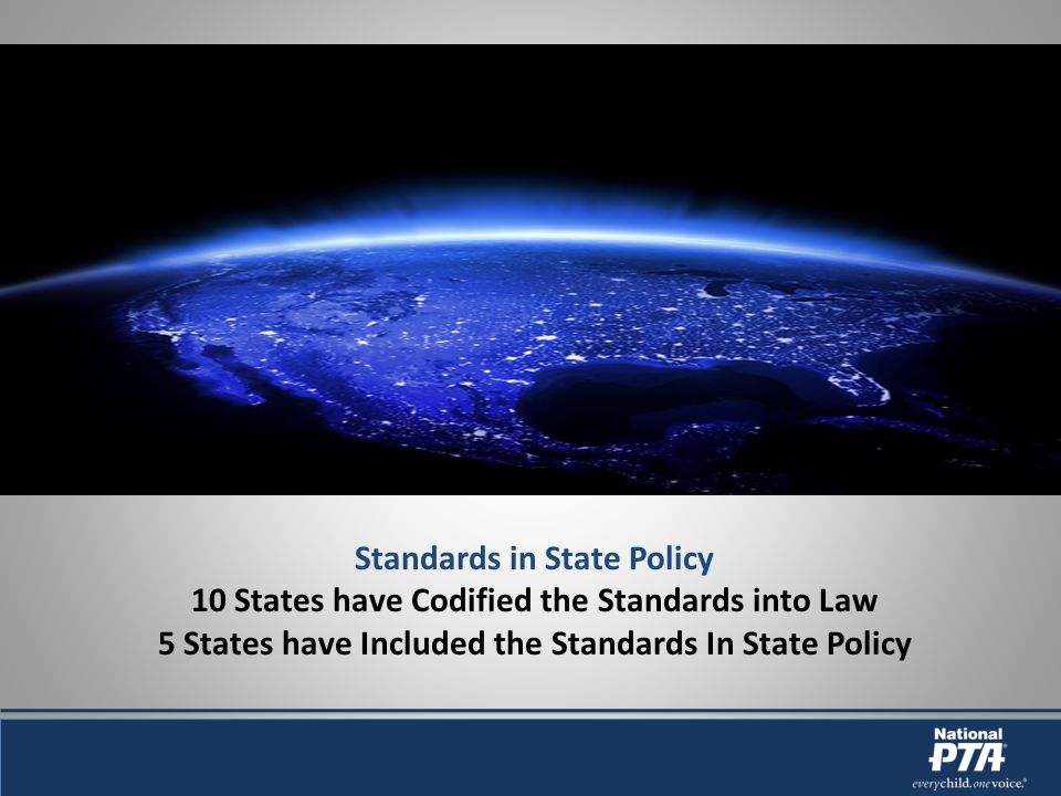 Standards in State Policy 10 States have Codified the Standards into Law 5 States have Included the Standards In State Policy