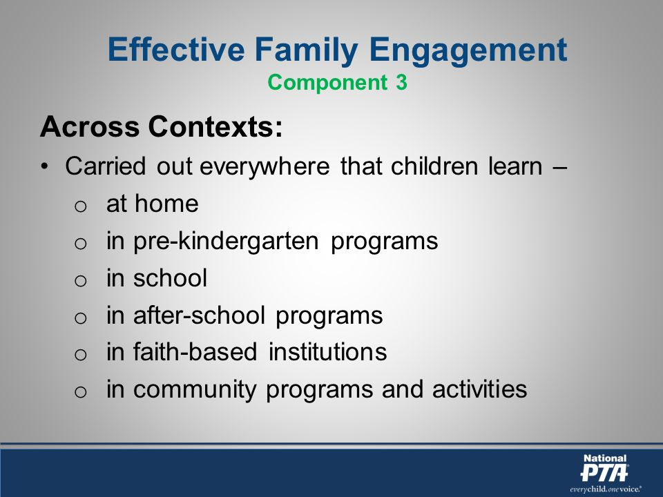 Effective Family Engagement Component 3 Across Contexts: Carried out everywhere that children learn – o at home o in pre-kindergarten programs o in school o in after-school programs o in faith-based institutions o in community programs and activities