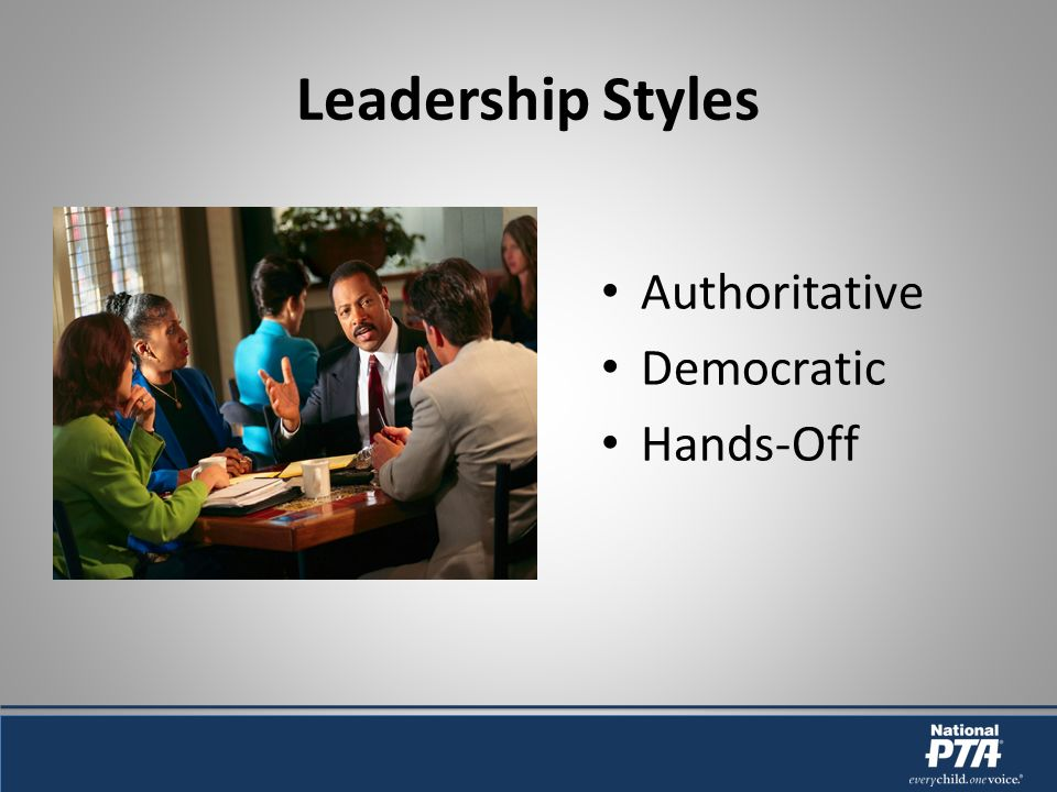 Leadership Styles Authoritative Democratic Hands-Off