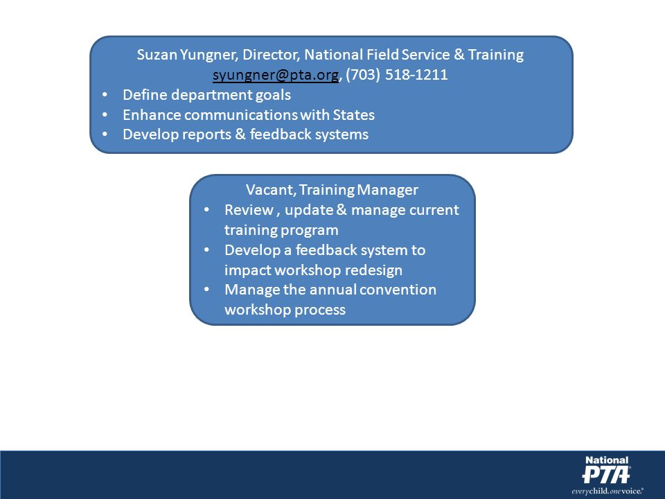 Suzan Yungner, Director, National Field Service & Training syungner@pta.org, (703) 518-1211 Define department goals Enhance communications with States