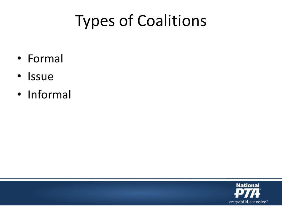 Types of Coalitions Formal Issue Informal