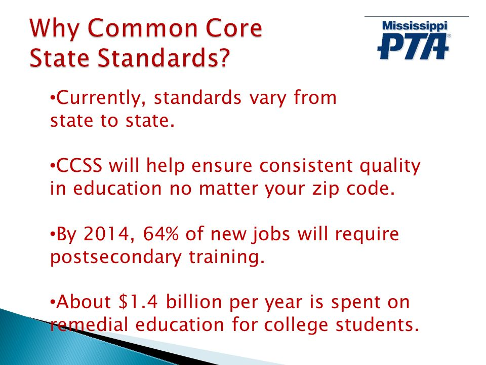 Currently, standards vary from state to state. CCSS will help ensure consistent quality in education no matter your zip code. By 2014, 64% of new jobs