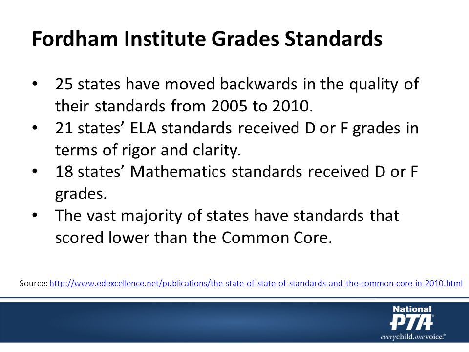 25 states have moved backwards in the quality of their standards from 2005 to 2010.