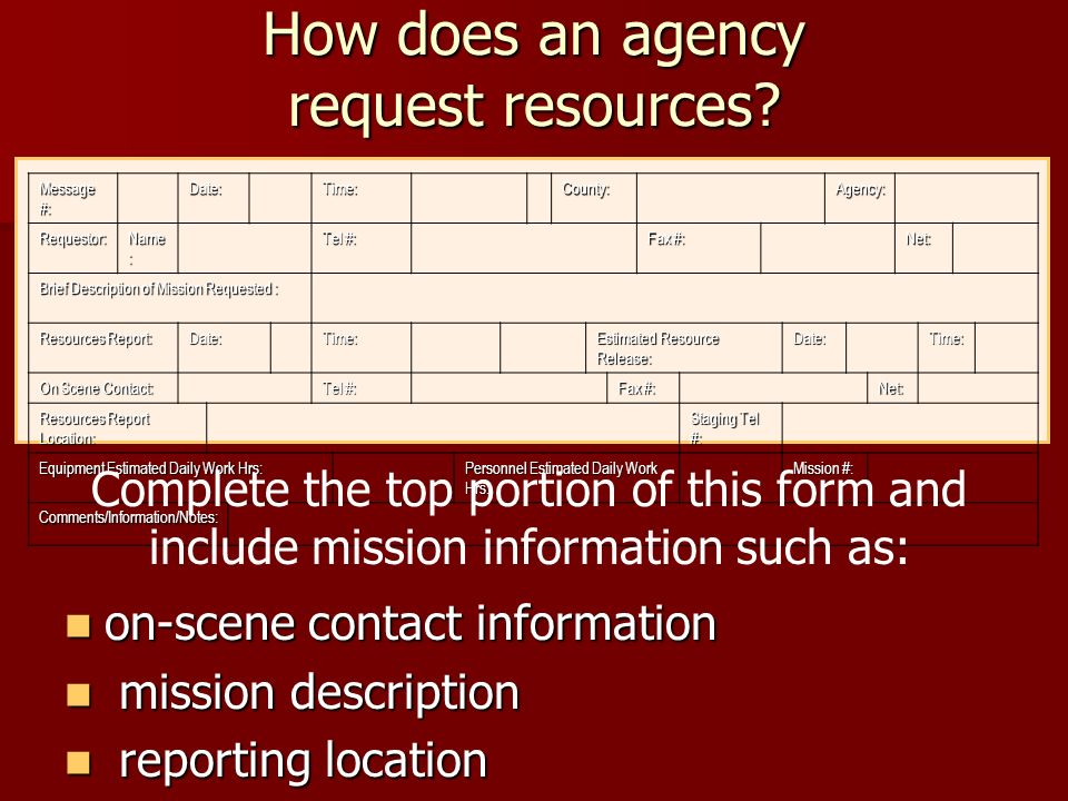 How does an agency request resources? on-scene contact information on-scene contact information mission description mission description reporting loca