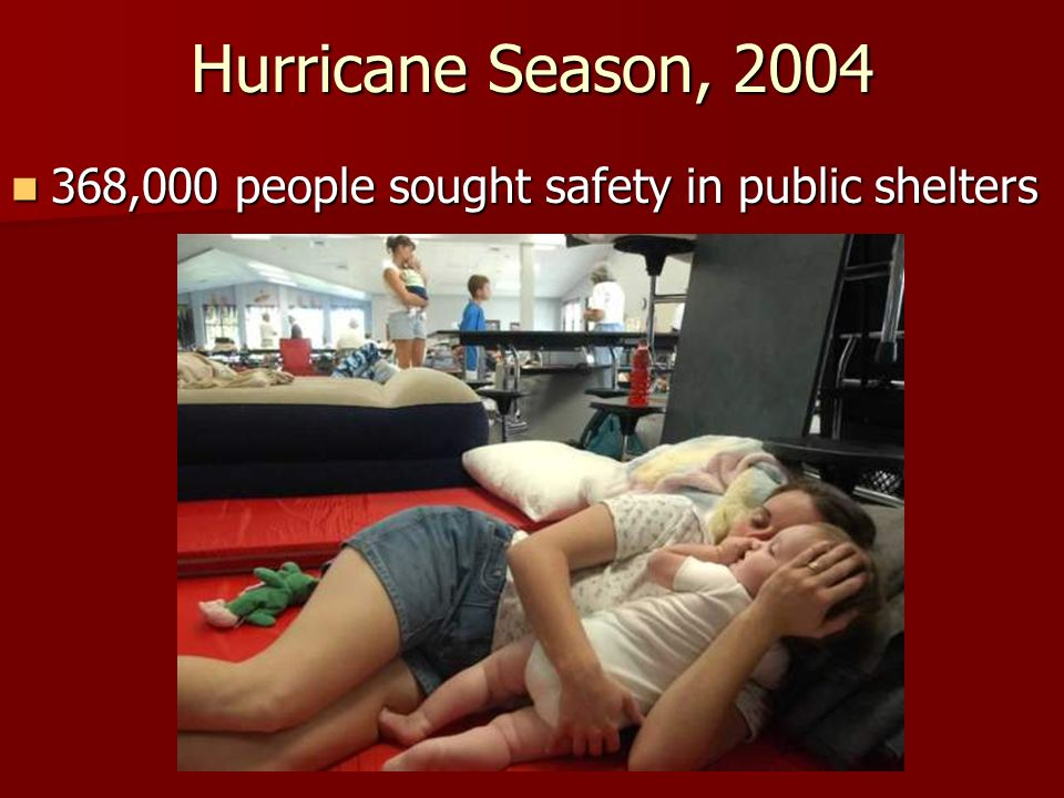 Hurricane Season, 2004 368,000 people sought safety in public shelters 368,000 people sought safety in public shelters