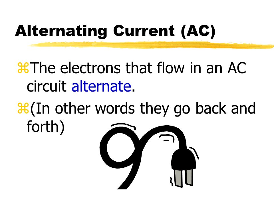 Direct Current (DC) zIn a DC circuit, electrons flow in one direction from the negative terminal to the positive terminal.