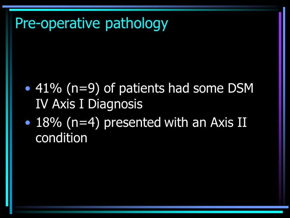 Pre-operative pathology 41% (n=9) of patients had some DSM IV Axis I Diagnosis 18% (n=4) presented with an Axis II condition
