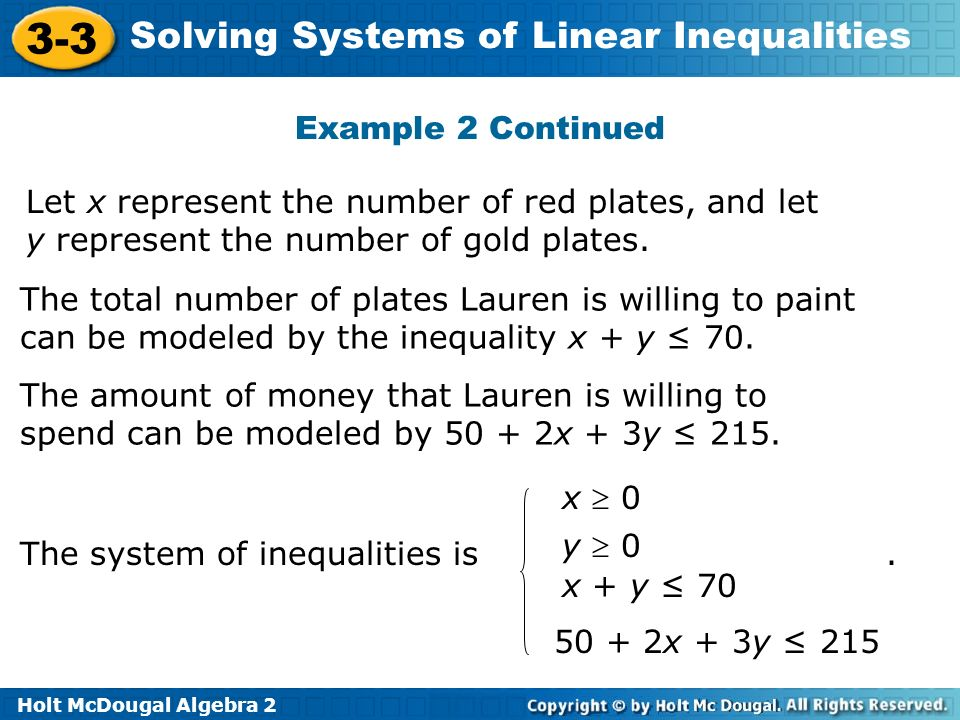 Holt McDougal Algebra 2 3-3 Solving Systems of Linear Inequalities Example 2 Continued Let x represent the number of red plates, and let y represent t