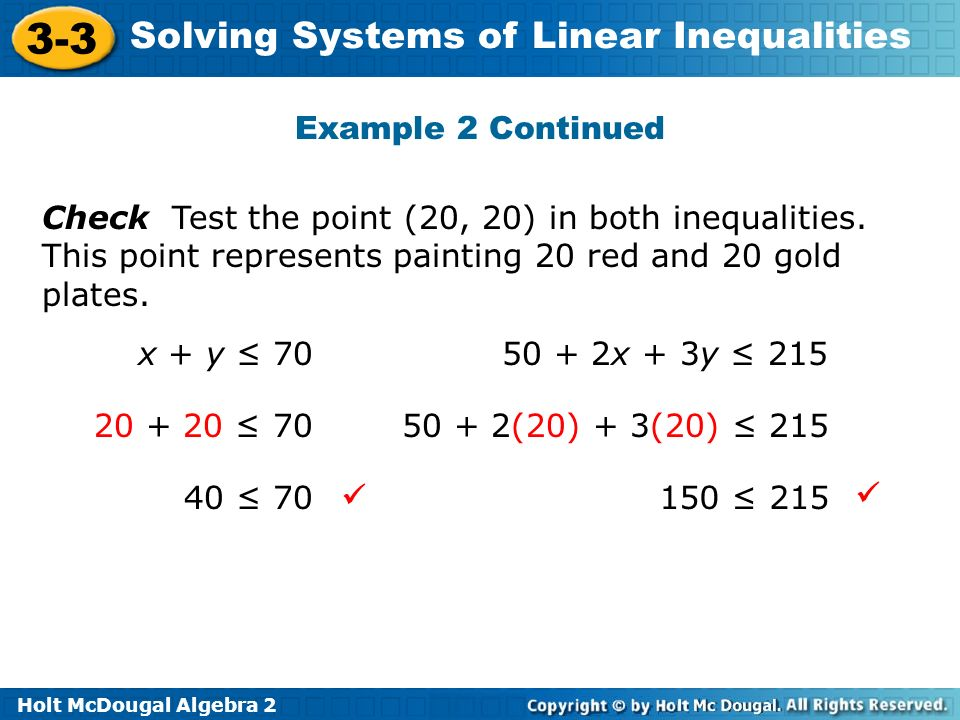 Holt McDougal Algebra 2 3-3 Solving Systems of Linear Inequalities Check Test the point (20, 20) in both inequalities. This point represents painting