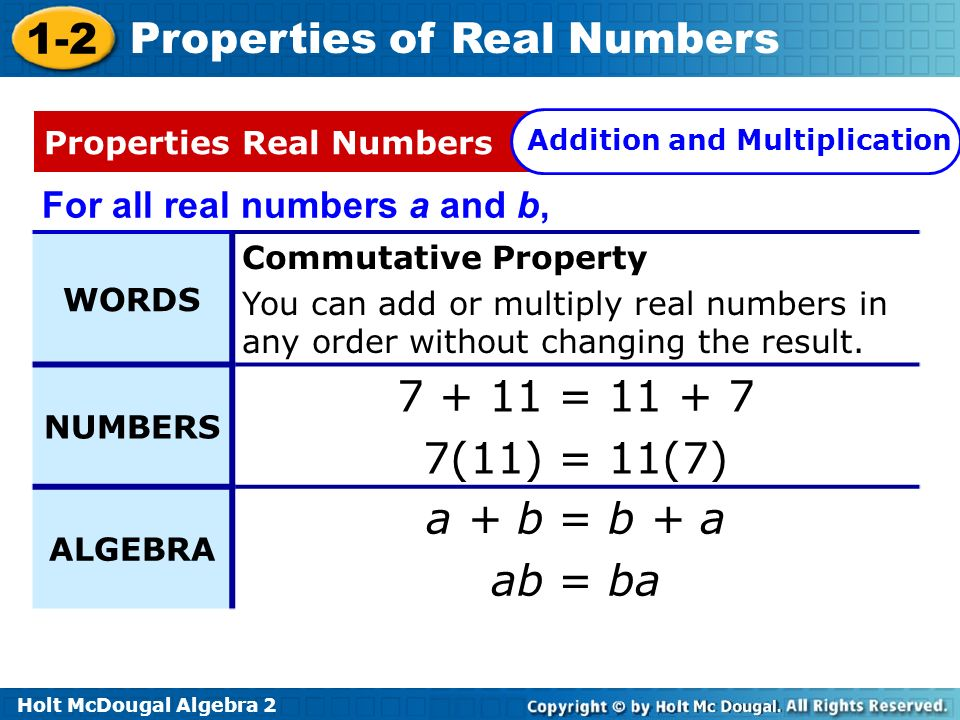 Holt McDougal Algebra 2 1-2 Properties of Real Numbers For all real numbers a and b, WORDS Commutative Property You can add or multiply real numbers i