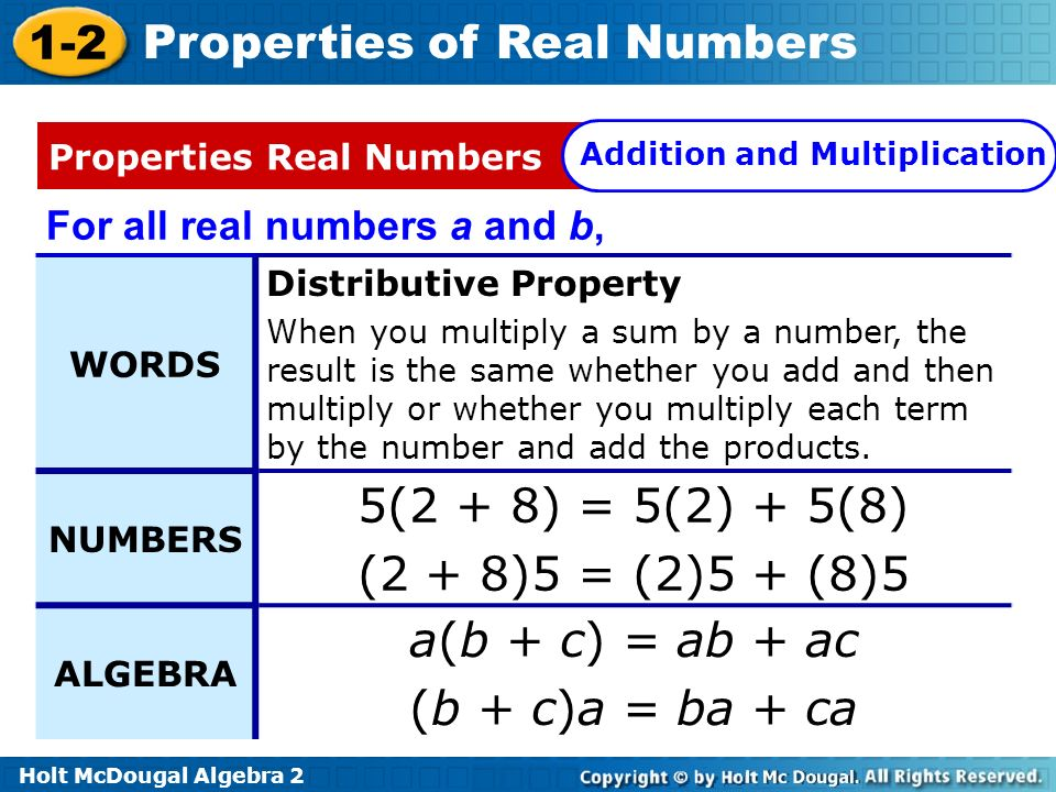 Holt McDougal Algebra 2 1-2 Properties of Real Numbers For all real numbers a and b, WORDS Distributive Property When you multiply a sum by a number,