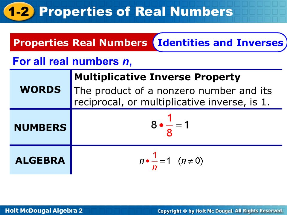 Holt McDougal Algebra 2 1-2 Properties of Real Numbers Recall from previous courses that the opposite of any number a is –a and the reciprocal of any nonzero number a is.
