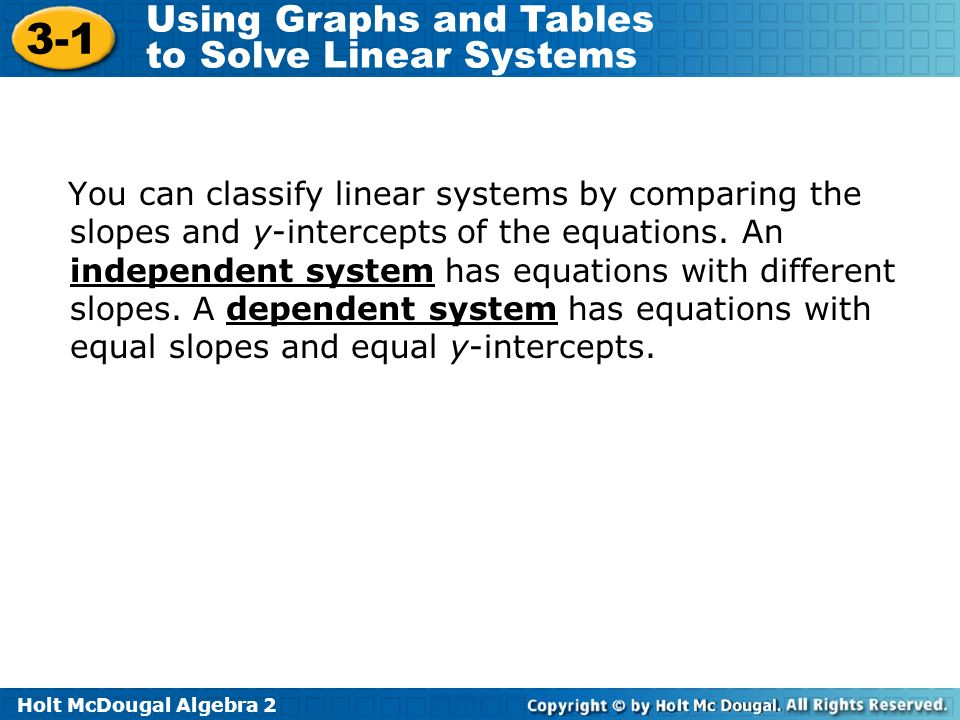 Holt McDougal Algebra 2 3-1 Using Graphs and Tables to Solve Linear Systems You can classify linear systems by comparing the slopes and y-intercepts o