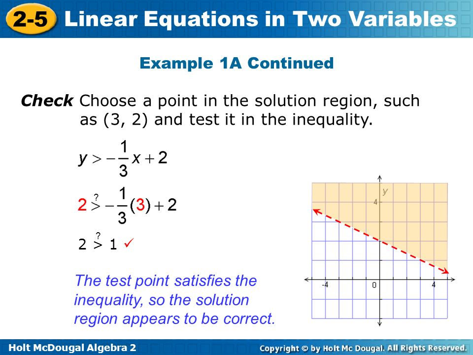 Holt McDougal Algebra 2 2-5 Linear Equations in Two Variables Example 1A Continued Check Choose a point in the solution region, such as (3, 2) and test it in the inequality.