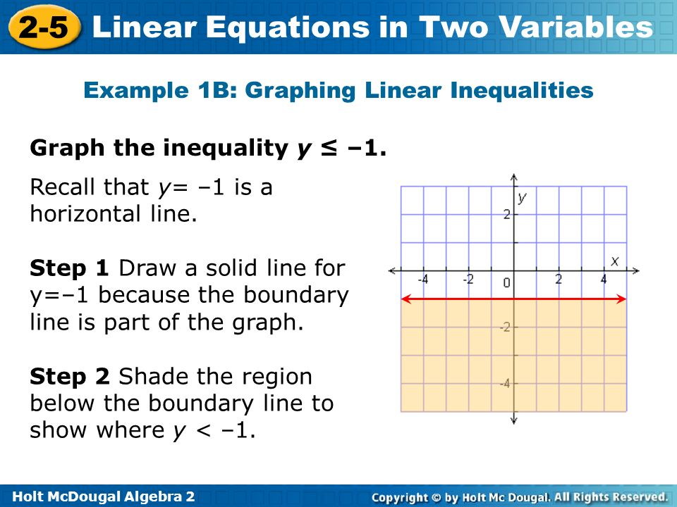 Holt McDougal Algebra 2 2-5 Linear Equations in Two Variables Graph the inequality y –1. Recall that y= –1 is a horizontal line. Step 1 Draw a solid l