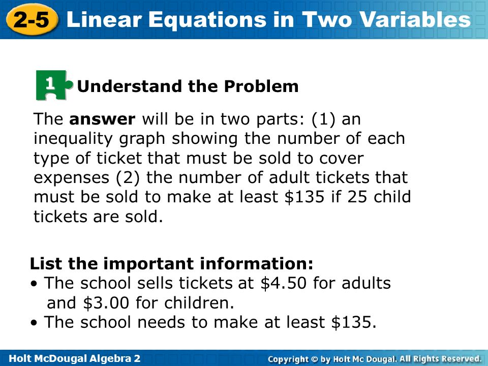 Holt McDougal Algebra 2 2-5 Linear Equations in Two Variables 1 Understand the Problem The answer will be in two parts: (1) an inequality graph showin