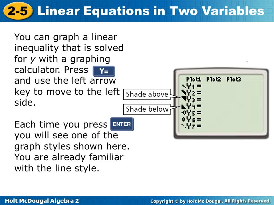 Holt McDougal Algebra 2 2-5 Linear Equations in Two Variables You can graph a linear inequality that is solved for y with a graphing calculator. Press