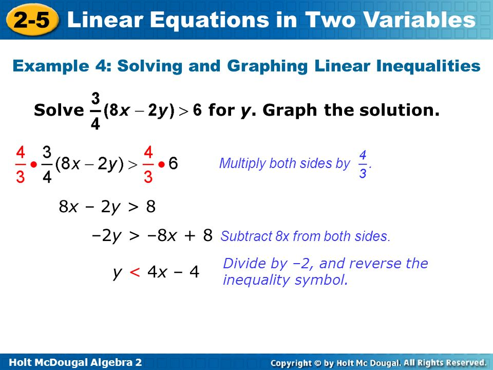 Holt McDougal Algebra 2 2-5 Linear Equations in Two Variables Solve for y.