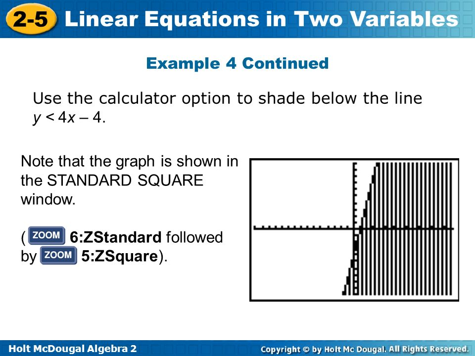 Holt McDougal Algebra 2 2-5 Linear Equations in Two Variables Note that the graph is shown in the STANDARD SQUARE window. ( 6:ZStandard followed by 5: