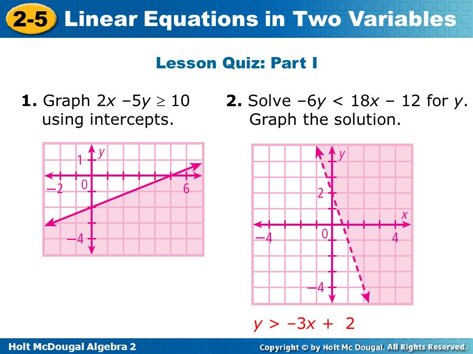 Holt McDougal Algebra 2 2-5 Linear Equations in Two Variables Lesson Quiz: Part I 1. Graph 2x –5y 10 using intercepts. 2. Solve –6y < 18x – 12 for y.