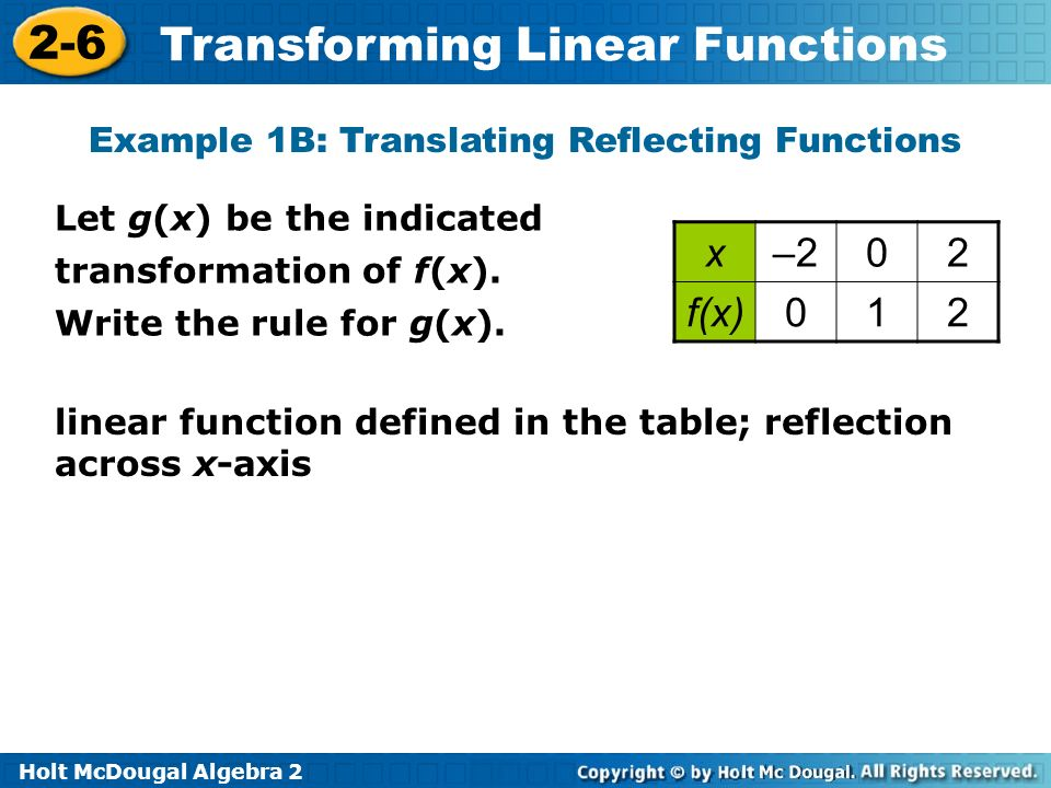 Holt McDougal Algebra 2 2-6 Transforming Linear Functions Example 1B: Translating Reflecting Functions linear function defined in the table; reflectio