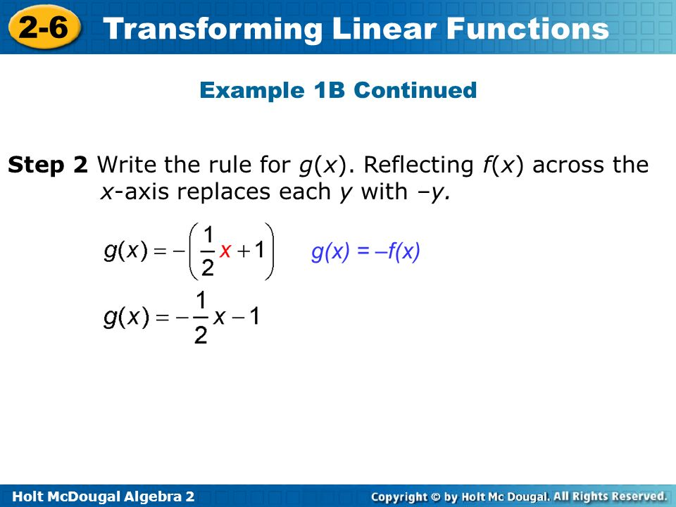 Holt McDougal Algebra 2 2-6 Transforming Linear Functions Step 2 Write the rule for g(x). Reflecting f(x) across the x-axis replaces each y with –y. g