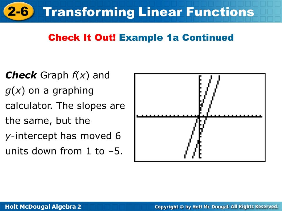 Holt McDougal Algebra 2 2-6 Transforming Linear Functions Check It Out! Example 1a Continued Check Graph f(x) and g(x) on a graphing calculator. The s