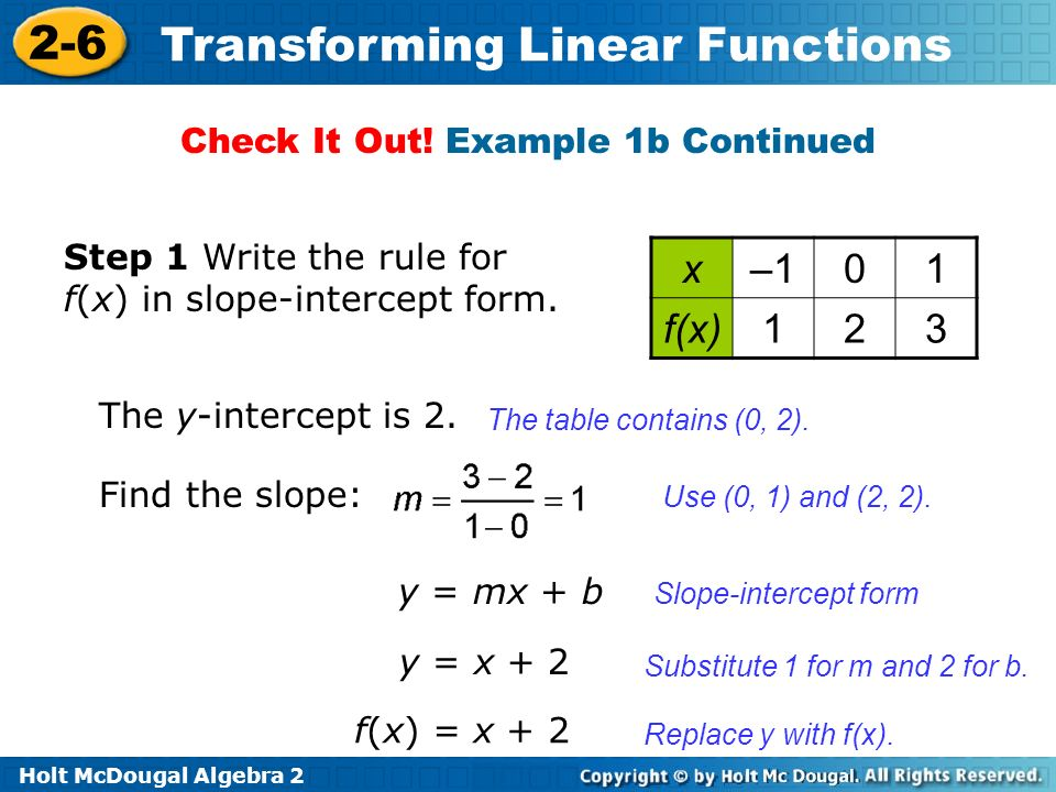 Holt McDougal Algebra 2 2-6 Transforming Linear Functions The table contains (0, 2). Use (0, 1) and (2, 2). Slope-intercept form The y-intercept is 2.