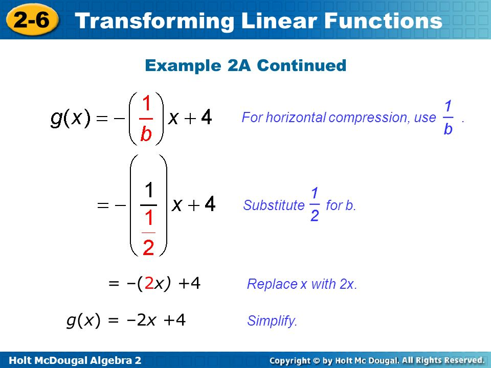 Holt McDougal Algebra 2 2-6 Transforming Linear Functions Example 2A Continued g(x) = –2x +4 = –(2x) +4 Replace x with 2x. Simplify. For horizontal co