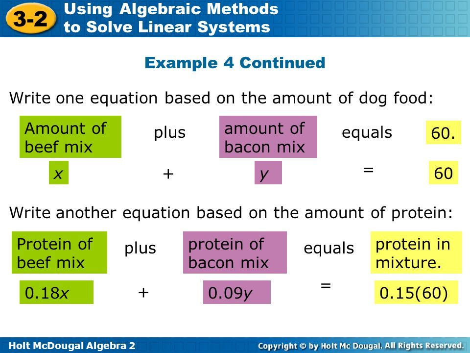 Holt McDougal Algebra 2 3-2 Using Algebraic Methods to Solve Linear Systems Example 4 Continued Write one equation based on the amount of dog food: Am
