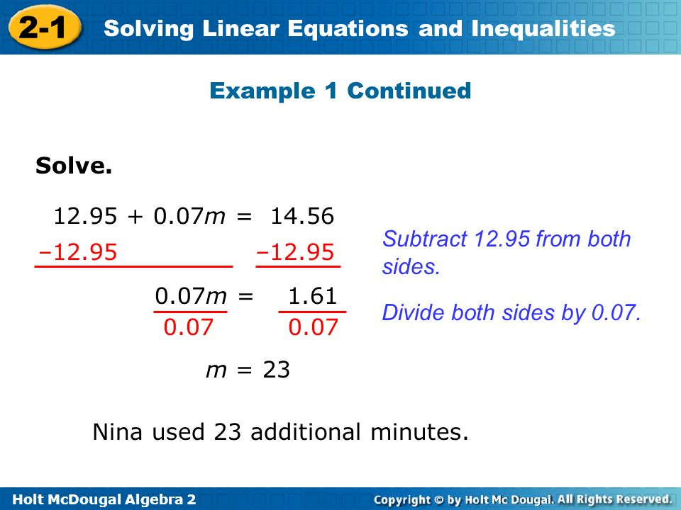 Holt McDougal Algebra 2 2-1 Solving Linear Equations and Inequalities Solve.