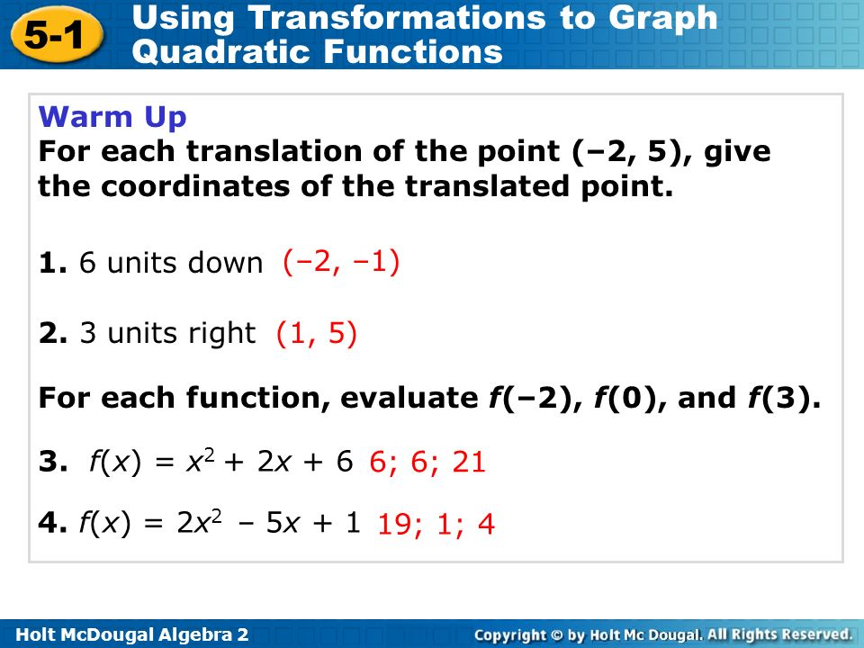5-1 Using Transformations to Graph Quadratic Functions Warm Up For each translation of the point (–2, 5), give the coordinates of the translated point