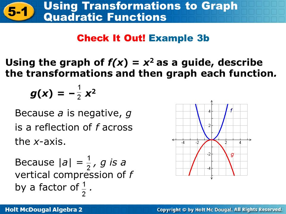 Holt McDougal Algebra 2 5-1 Using Transformations to Graph Quadratic Functions Using the graph of f(x) = x 2 as a guide, describe the transformations