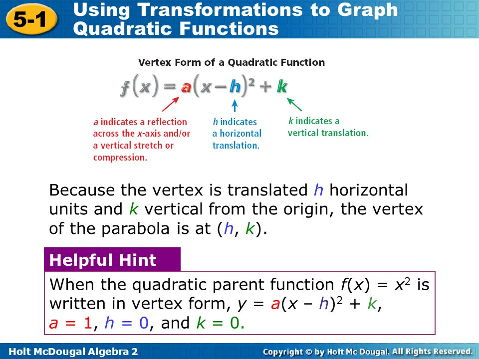 Holt McDougal Algebra 2 5-1 Using Transformations to Graph Quadratic Functions Because the vertex is translated h horizontal units and k vertical from