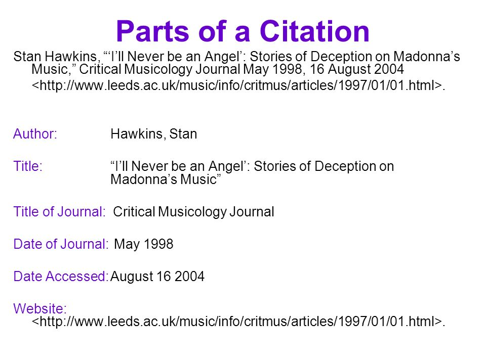 Parts of a Citation Stan Hawkins, Ill Never be an Angel: Stories of Deception on Madonnas Music, Critical Musicology Journal May 1998, 16 August 2004.
