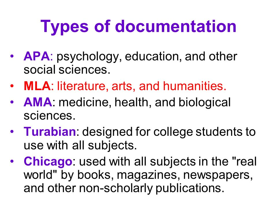 Types of documentation APA: psychology, education, and other social sciences. MLA: literature, arts, and humanities. AMA: medicine, health, and biolog