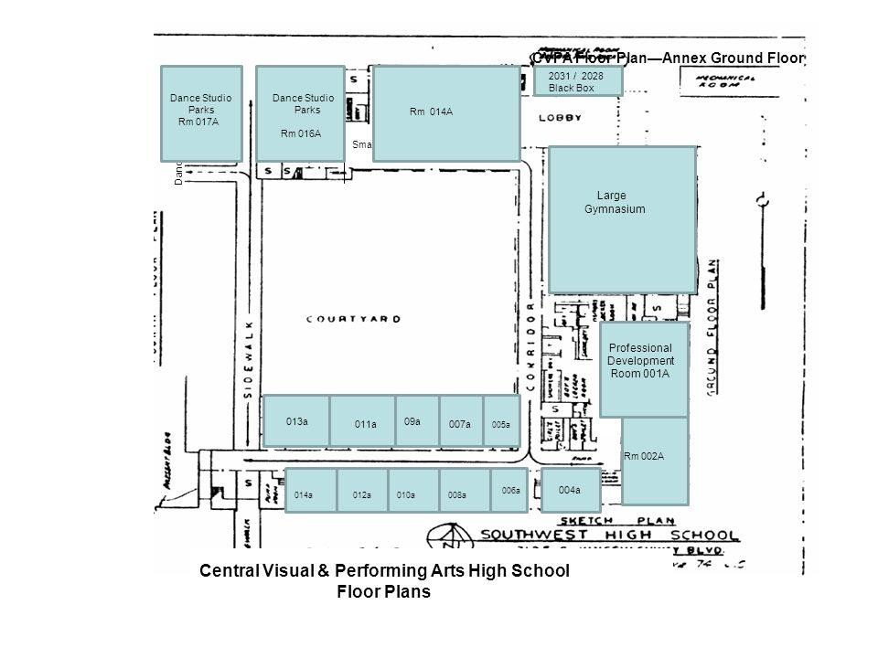 017 Dance Studio Dance 016 Dance Studio Small Gym Central Visual & Performing Arts High School Floor Plans CVPA Floor PlanAnnex Ground Floor PD ROOM R