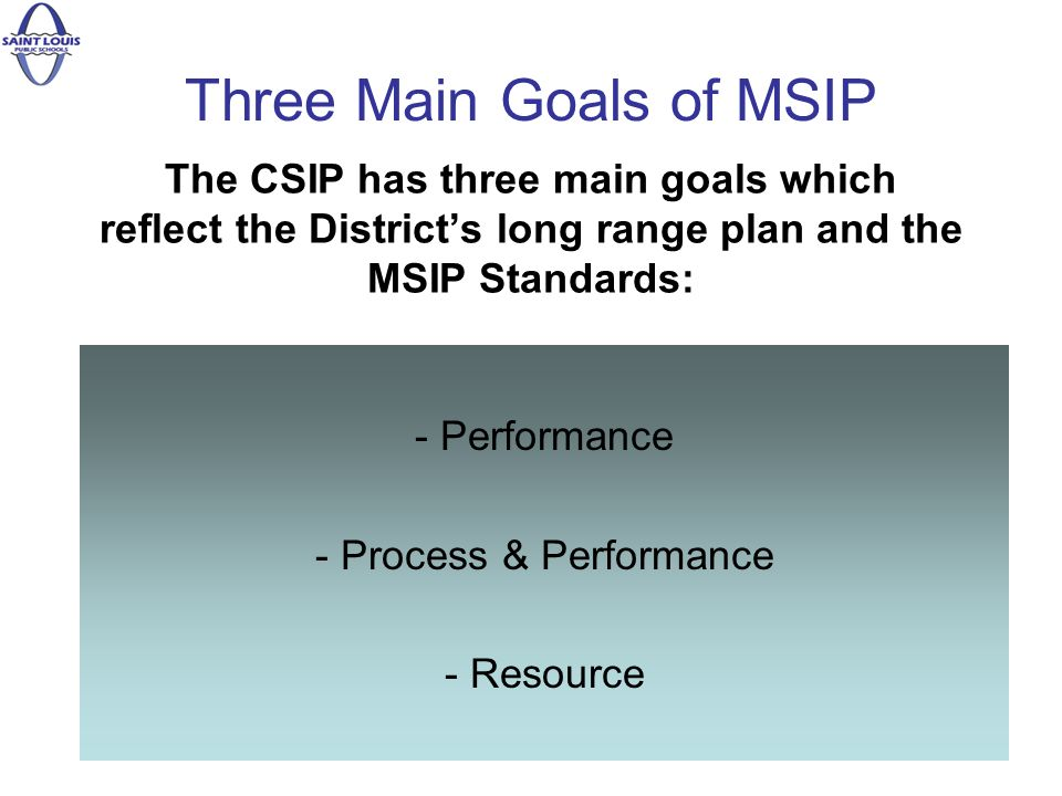 The CSIP has three main goals which reflect the Districts long range plan and the MSIP Standards: - Performance - Process & Performance - Resource Three Main Goals of MSIP
