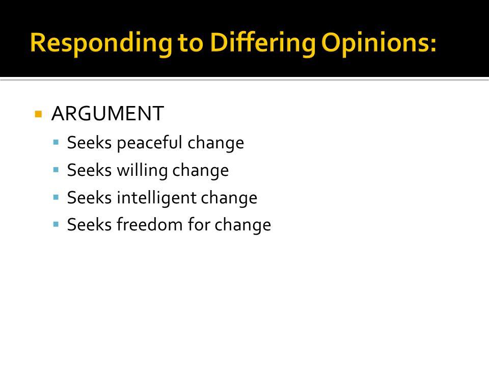 ARGUMENT Seeks peaceful change Seeks willing change Seeks intelligent change Seeks freedom for change