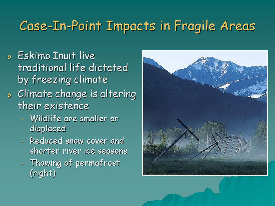 Case-In-Point Impacts in Fragile Areas o Eskimo Inuit live traditional life dictated by freezing climate o Climate change is altering their existence