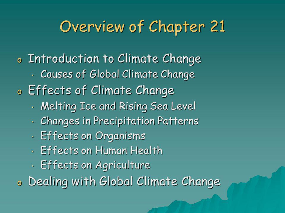 Overview of Chapter 21 o Introduction to Climate Change Causes of Global Climate Change Causes of Global Climate Change o Effects of Climate Change Me