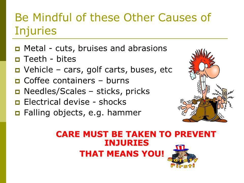 Be Mindful of these Other Causes of Injuries Metal - cuts, bruises and abrasions Teeth - bites Vehicle – cars, golf carts, buses, etc Coffee containers – burns Needles/Scales – sticks, pricks Electrical devise - shocks Falling objects, e.g.