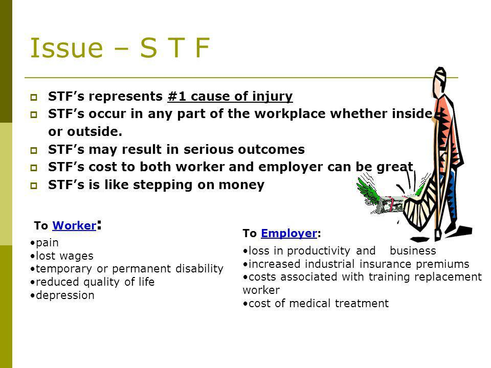 Issue – S T F STFs represents #1 cause of injury STFs occur in any part of the workplace whether inside or outside.