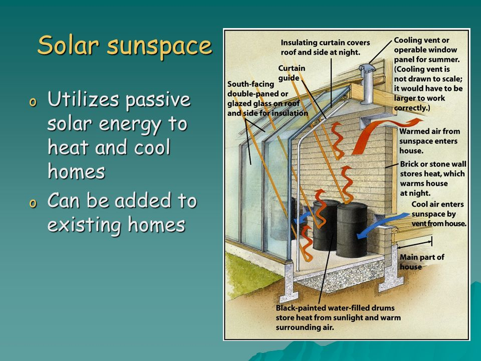 Solar sunspace o Utilizes passive solar energy to heat and cool homes o Can be added to existing homes