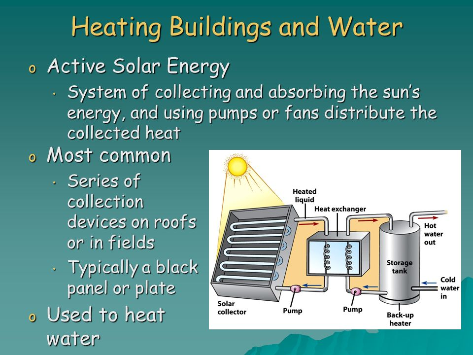 Heating Buildings and Water o Active Solar Energy System of collecting and absorbing the suns energy, and using pumps or fans distribute the collected